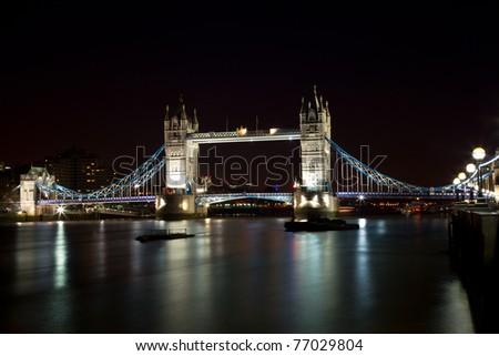 London Bridge at night with plenty of lights - stock photo