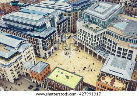 London Building Aerial View, London City Center - View on business modern district  - stock photo