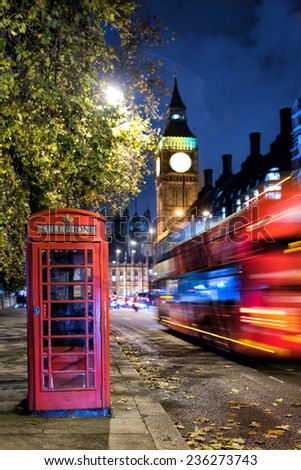 London Bus in the night - stock photo