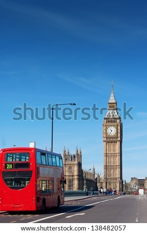 London Buses with Big Ben - stock photo