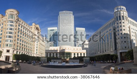 London business district Canary Wharf - stock photo