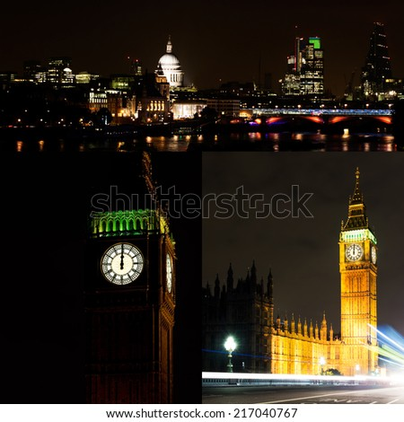 London by night collage. City, Saint Pauls and River Thames. Big Ben midnight - ideal New Year. - stock photo
