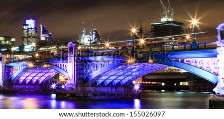 London central bridge, and city of London on background. - stock photo
