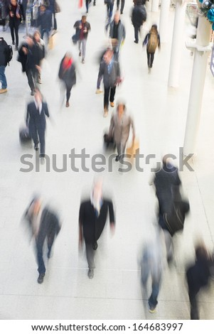 London City Airport, Train & Tube, Blur people passenger movement in rush hour  - stock photo