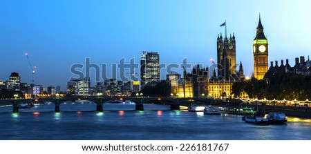 London city at night, UK - stock photo