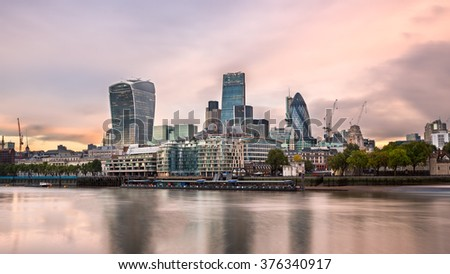 London City Skyline and River Thames in the Morning, London, United Kingdom - stock photo