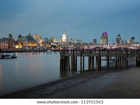 London city skyline at dusk - stock photo