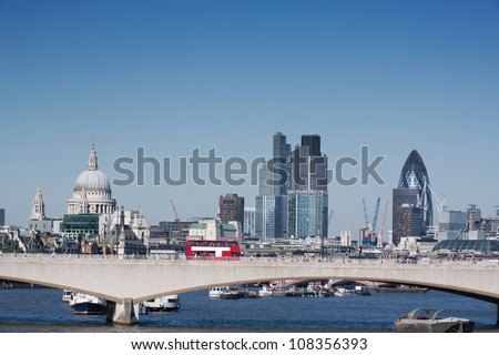 London city skyline with st pauls cathedral - stock photo
