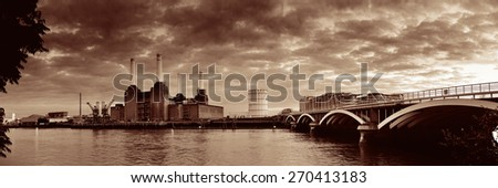 London cityscape panorama with urban buildings over Thames River - stock photo