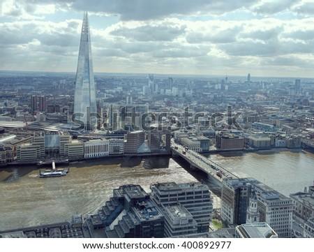 London Cityscape Skyline. Thames Looking South, Shard, London Bridge. - stock photo