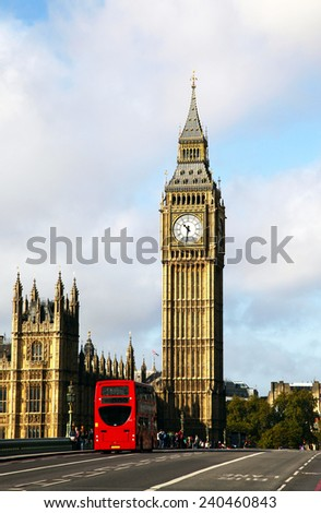 London. Classic Red Double Decker Buses - stock photo