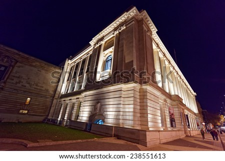 LONDON - DEC 14 : Imperial College London pictured at night on December 14th, 2014 in London, UK. It is ranked 8th in the world according to The Times Higher Education magazine.   - stock photo