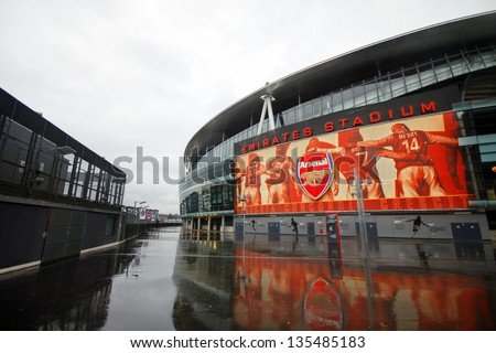 LONDON - DEC 12: One day before Arsenal FC meet W.B.A. in Barclays Premier League at Emirates Stadium in London, England on Dec 12, 2012. - stock photo