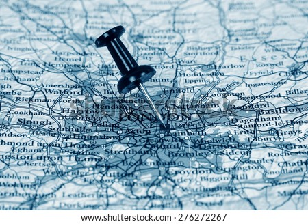 London destination in the map - stock photo
