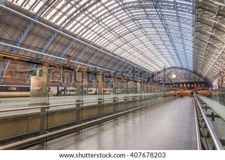 LONDON,ENGLAND - APRIL 18, 2016: The St. Pancras Station is the main train terminal for Eurostar train departures from London to the European continent. - stock photo