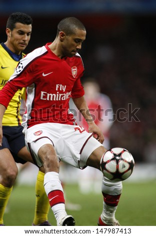LONDON, ENGLAND. 31/03/2010. Arsenal player Gael Clichy in action during the  UEFA Champions League quarter-final between Arsenal and Barcelona at the Emirates Stadium - stock photo