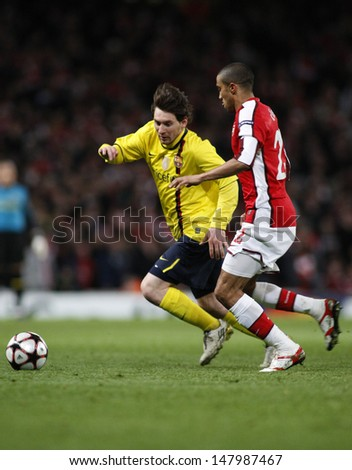 LONDON, ENGLAND. 31/03/2010. Barcelona player Lionel Messi and Arsenal player Gael Clichy during the  UEFA Champions League quarter-final between Arsenal and Barcelona at the Emirates Stadium - stock photo