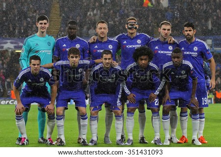 LONDON, ENGLAND - DECEMBER 09 2015: Chelsea during the Champions League Group G match between Chelsea FC and FC Porto at Stamford Bridge on December 9, 2015 in London, United Kingdom - stock photo