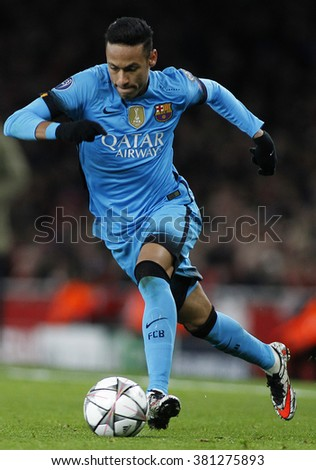 LONDON, ENGLAND - FEBRUARY 23: Neymar of Barcelona during the Champions League match between Arsenal and Barcelona at The Emirates Stadium  - stock photo