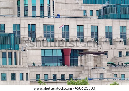 LONDON, ENGLAND - JULY 8, 2016: Detail from the Secret Intelligence Service building, known as MI6, featured in a James Bond film and located on the bank of the River Thames beside Vauxhall Bridge. - stock photo