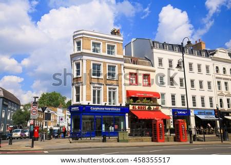 LONDON, ENGLAND - JULY 03, 2016. High street of Kensington in London.  - stock photo