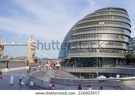 LONDON, ENGLAND - JULY 15: London City Hall on July 15, 2014 in London, England - stock photo