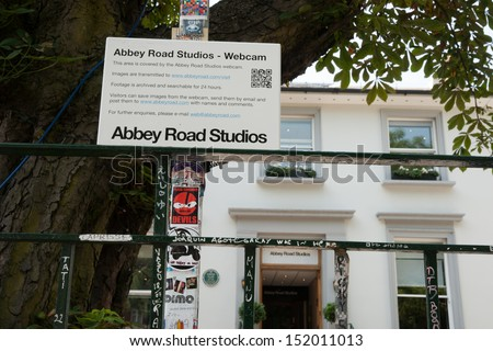 LONDON, ENGLAND - JULY 17: The webcam sign outside Abbey Road Studios in London, England on July 17,2013. The studios made famous by Beatles in 1960's was put up for sale in 2010. - stock photo
