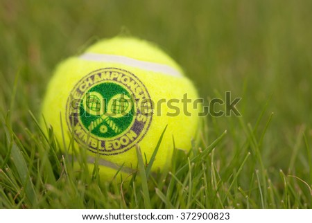 LONDON, ENGLAND-JUNE 22, 2009: Official Tennis ball for tradidional tournament at Wimbledon, London, UK - stock photo