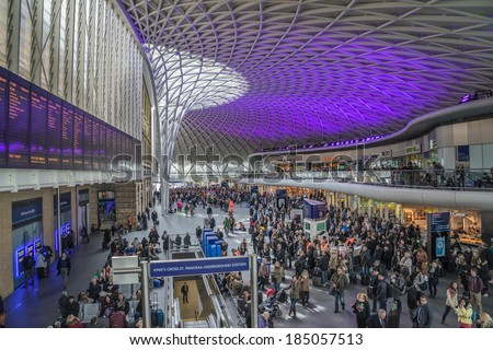 LONDON,ENGLAND Mar 26: Kings Cross St Pancras Station on March 26th, 2014 in London, England.The station is the main rail terminal for  Eurostar train departures from London to the European mainland.  - stock photo