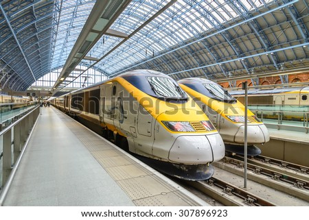 LONDON, ENGLAND - 1 MAR 2016: The Eurostar high-speed bullet train, which connects Paris Gare du Nord to London St. Pancras station, celebrated its 20th anniversary in November 2014. - stock photo