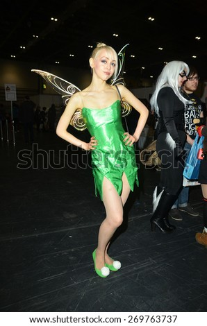 London/England - March 15 2015: Cosplayers in costume at the London Super Comic Convention in the Excel Centre,   - stock photo