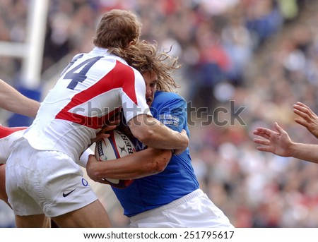 LONDON, ENGLAND-MARCH 18, 2007: italian rugby player Mirco Bergamasco in action  during the Six Nations rugby match England vs Italy, in London. - stock photo