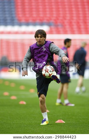 LONDON, ENGLAND. May 27 2011:  Barcelona's forward Lionel Messi during Barcelona's official training session for the 2011UEFA Champions League final between Manchester United and FC Barcelona - stock photo