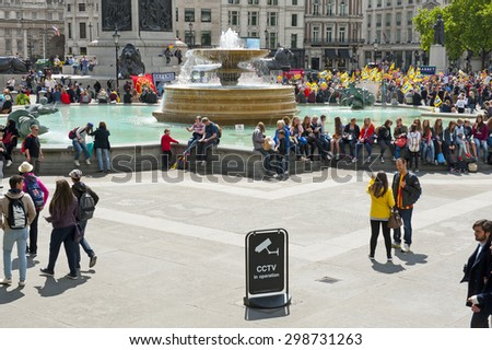 LONDON, ENGLAND - MAY 30: Closed-circuit television (CCTV) in Trafalgar Square on May 30, 2015 in London - stock photo