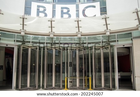 LONDON, ENGLAND - MAY 18, 2014:  Entrance to the British Broadcasting Corporation's headquarters at New Broadcasting House in London.  The building houses journalists and programme makers. - stock photo