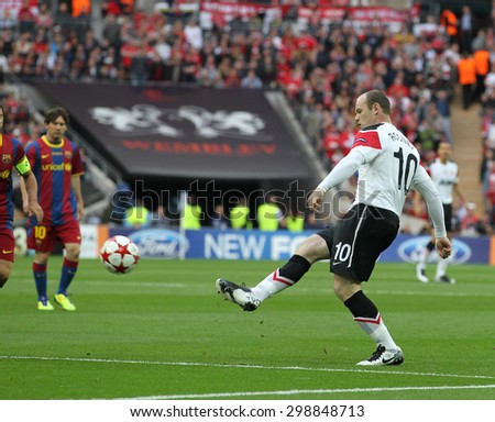 LONDON, ENGLAND. May 28 2011: Manchester's forward Wayne Rooney during the 2011UEFA Champions League final between Manchester United and FC Barcelona, at Wembley Stadium - stock photo