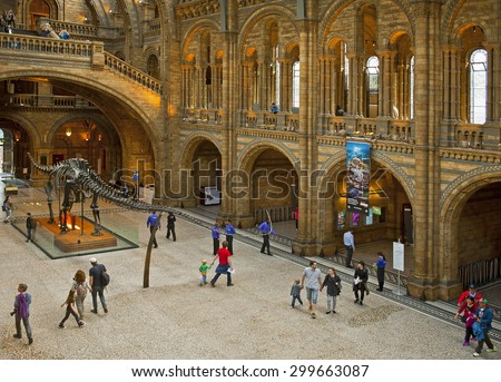 LONDON, ENGLAND - MAY 30: The Natural History Museum on May 30, 2015 in London - stock photo