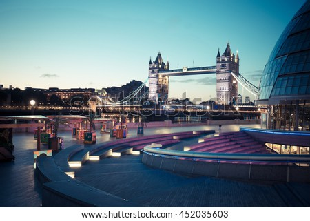 LONDON, ENGLAND - NOVEMBER 01,2015. Tower Bridge at twilight in London. - stock photo