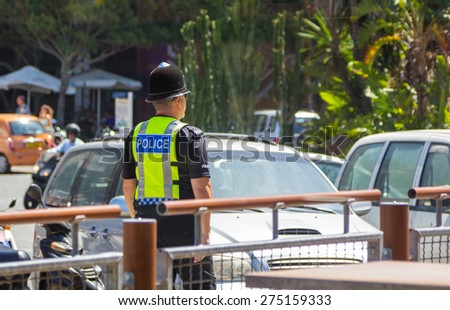 London, England September 3, 2014: Police in the typical English town patrol the streets of the city, on September 3, 2014 ,London England - stock photo