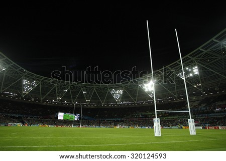 LONDON, ENGLAND - SEPTEMBER 23 2015 The 2015 Rugby World Cup Pool D match between France and Romania at The Stadium, Queen Elizabeth Olympic Park. - stock photo