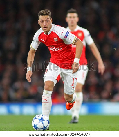 LONDON, ENGLAND - SEPTEMBER 29 2015: The UEFA Champions League match between Arsenal and Olympiacos at The Emirates Stadium on September 29, 2015 in London, United Kingdom. - stock photo
