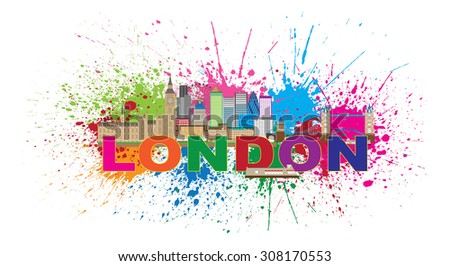 London England Skyline Panorama with Tower Bridge and Westminster Palace Abstract Paint Splatter with Color Text Raster Illustration - stock photo