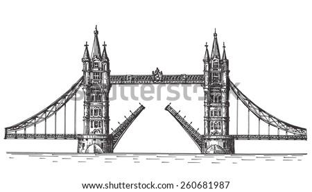 London, England, the bridge on white background - stock photo