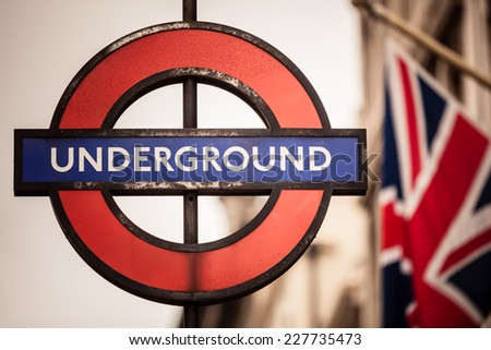 LONDON, ENGLAND UK - SEPTEMBER 20, 2014: London Underground sign on September 20, 2014, England. London Underground is the oldest underground railway in the world. - stock photo