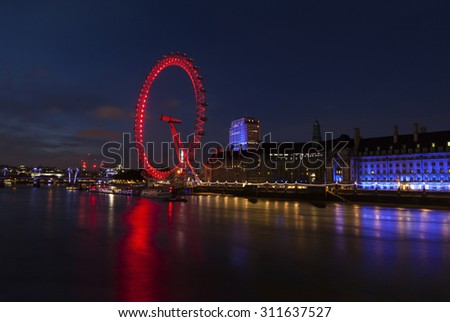 London Eye and Thames River panorama - stock photo