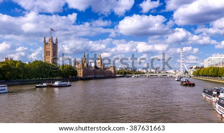 London Eye and Westminster Palace in City of Westminster, London, UK - stock photo