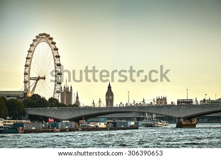 London Eye at Dusk - stock photo