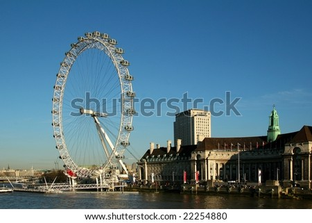 London Eye  London England - stock photo