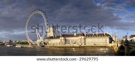 London eye panorama - stock photo
