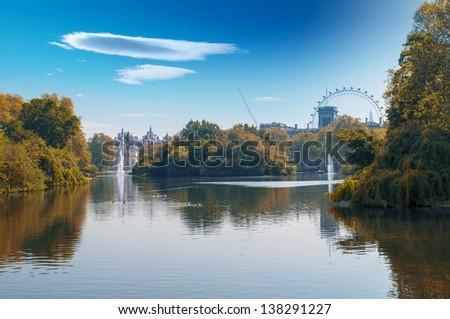 London Eye view by St. James Park, London. - stock photo